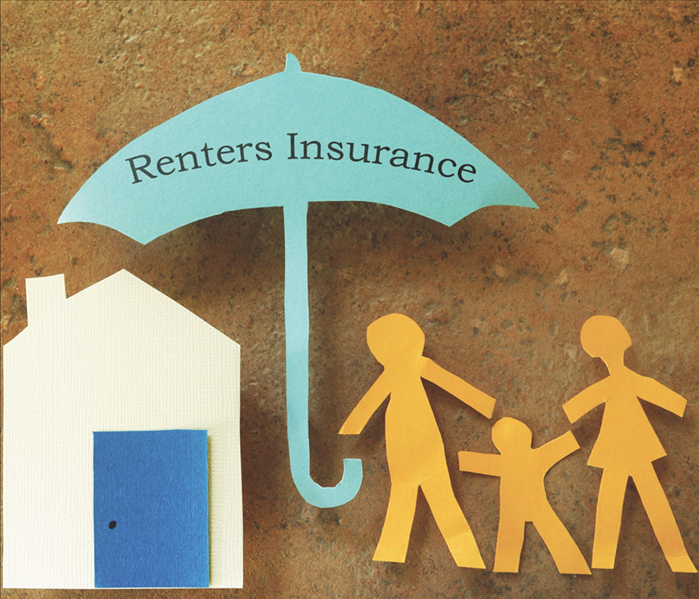 Paper cutout family with house under Renters Insurance umbrella