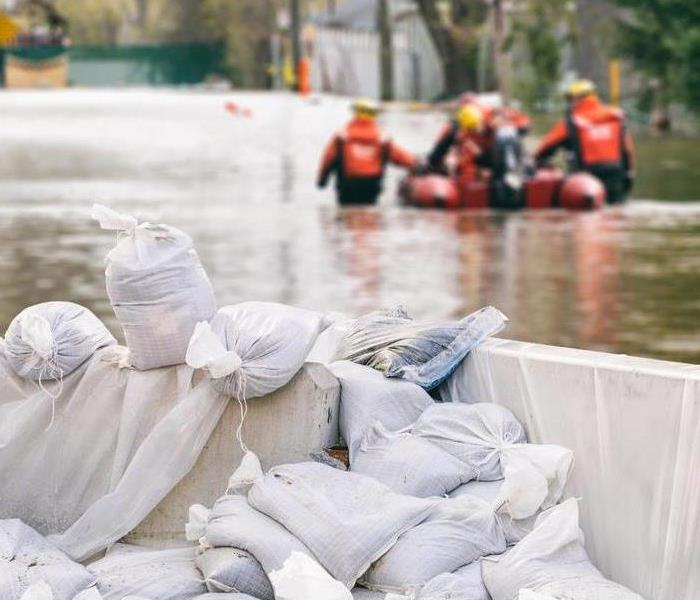 sand bags during flood