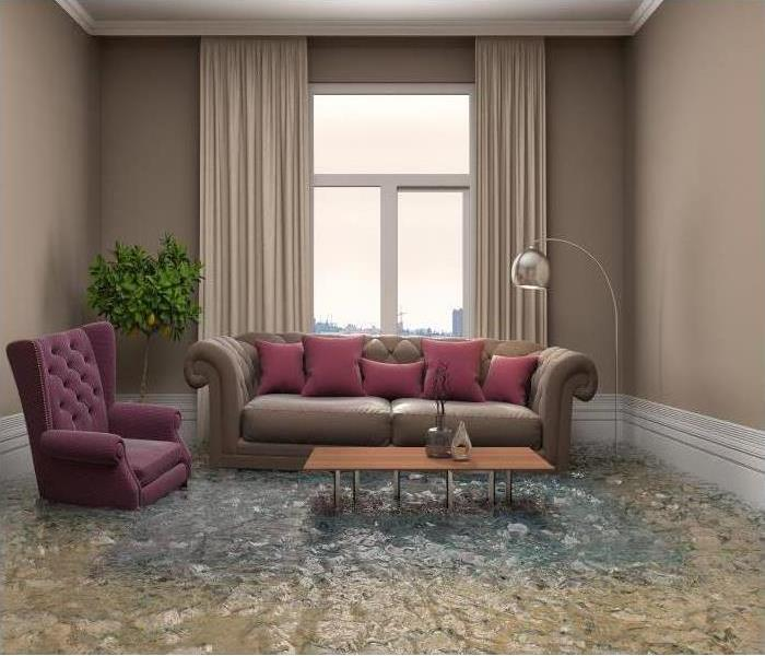 Interior of a house flooded with water. 3d illustration